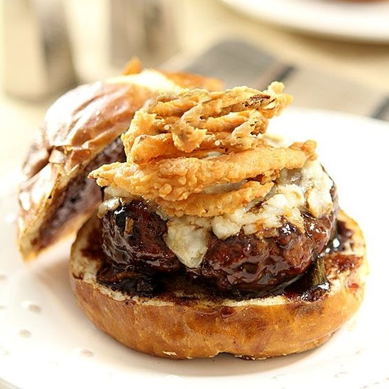 #1 Lamb and Goat Cheese Burgers with Cabernet Barbecue Sauce