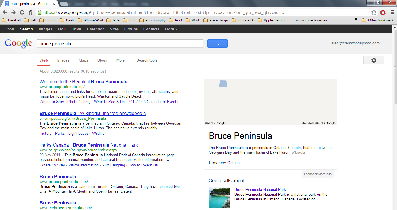 Google Results for Bruce Penninsula - Online Photography Location Scouting