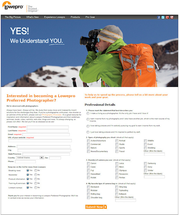 lowepro preferred photographer signup
