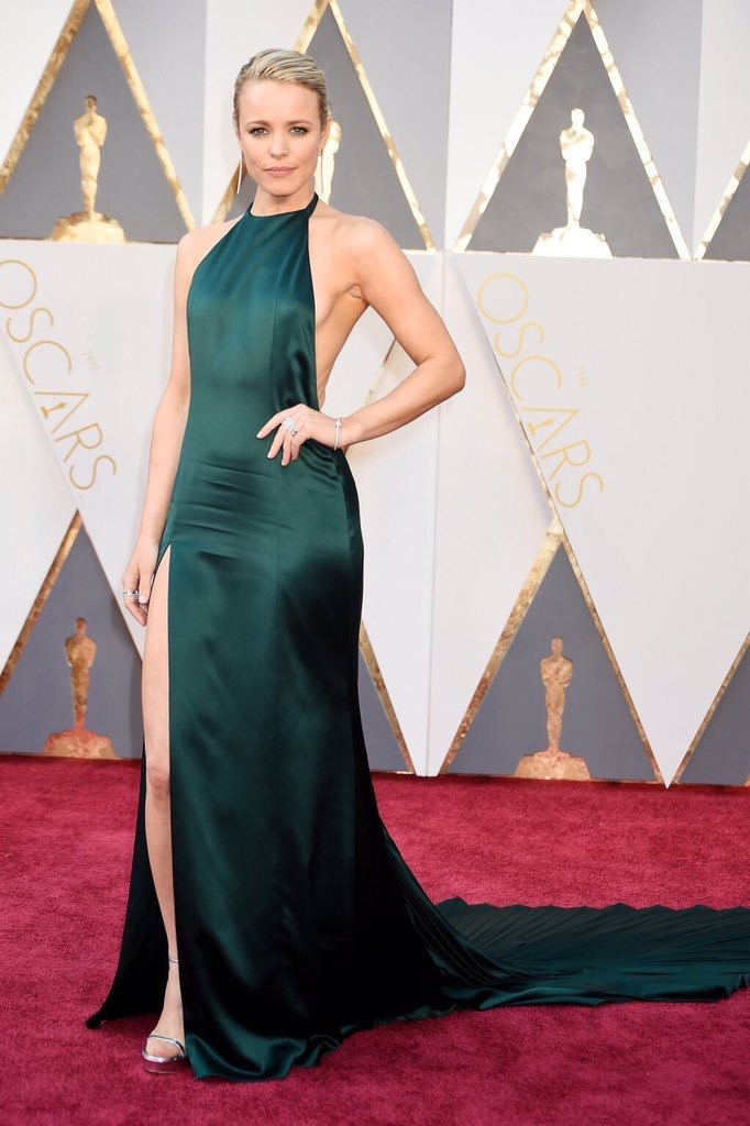 Rachel McAdams- wearing an August Getty dress Emerald looks GOOD on Rachel. I am always a high neck lover, but this dress scored extra points with me because it's backless! Side note: did you see Spotlight? Easily the best movie I watched all year!