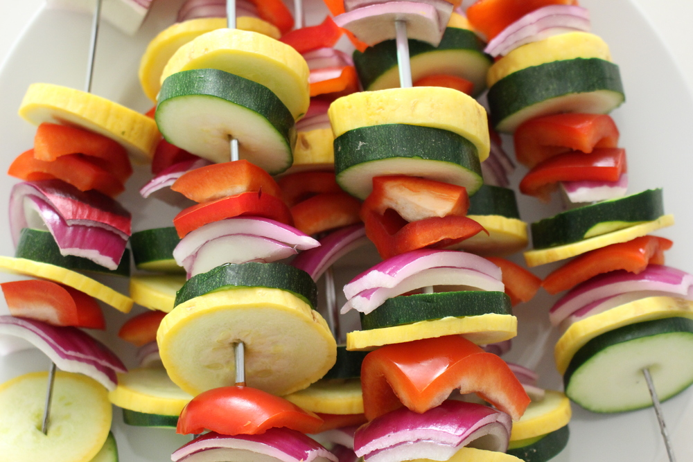 Mixed veggie skewers: Red peppers, zucchini, yellow squash, & red onion