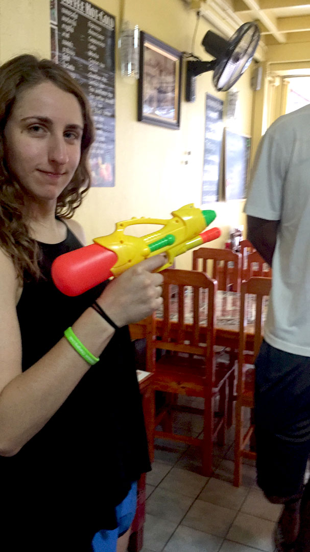 Margo (best room mate ever) at the ready for Songkran Day 1