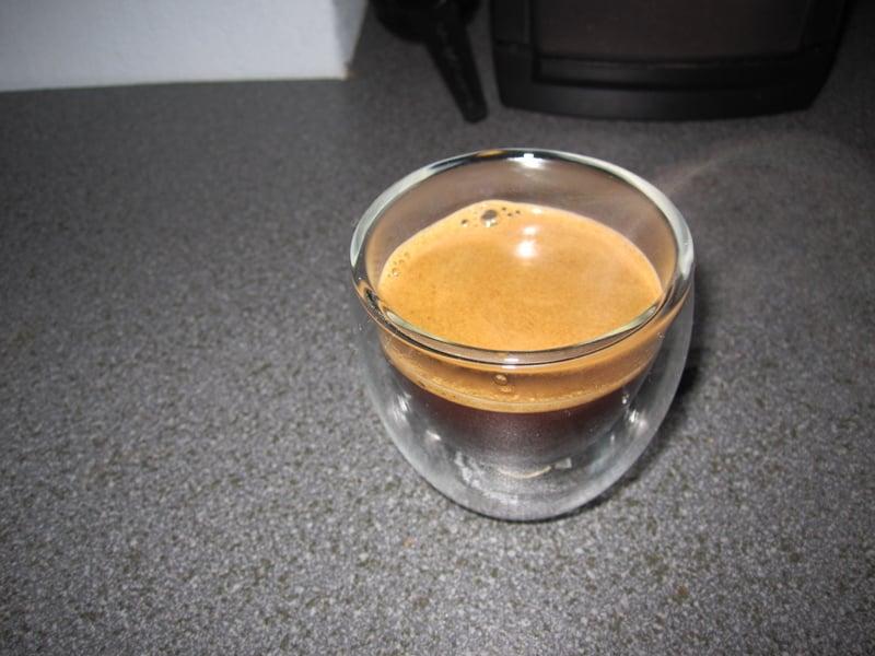 Espresso in a Bodum glass