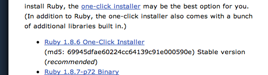 Recommended Ruby installer