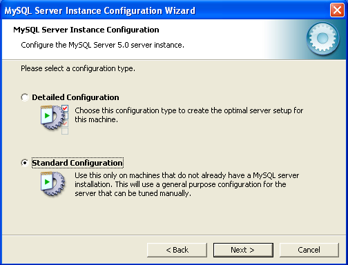 MySQL installation - 1: choose 'Standard Configuration'