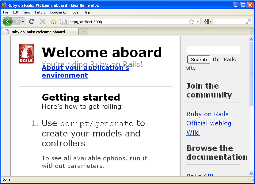 My First Rails - The result of going to 'http://localhost:3000'