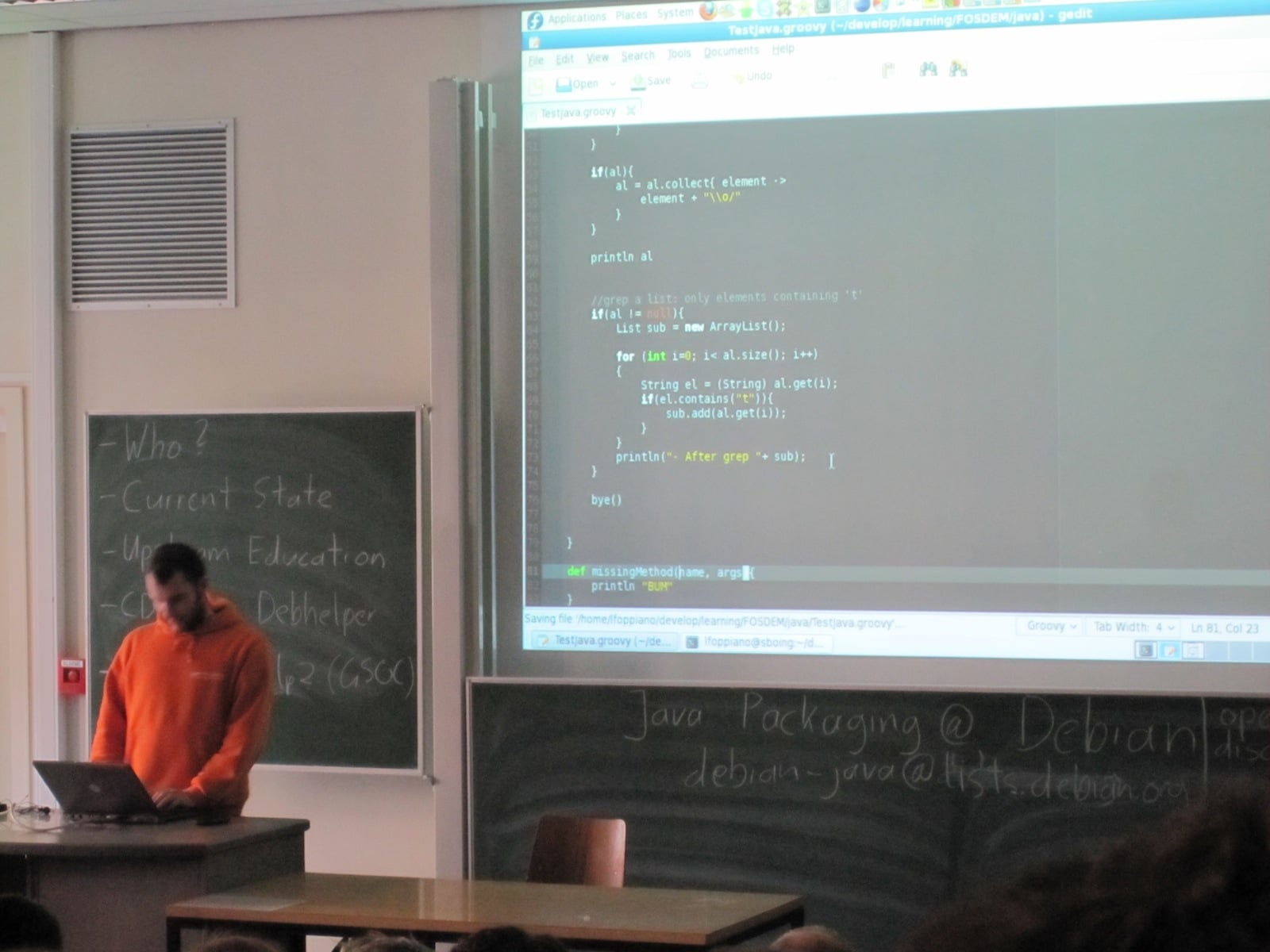 Luca Foppiano demonstrating Groovy features at Fosdem 2010