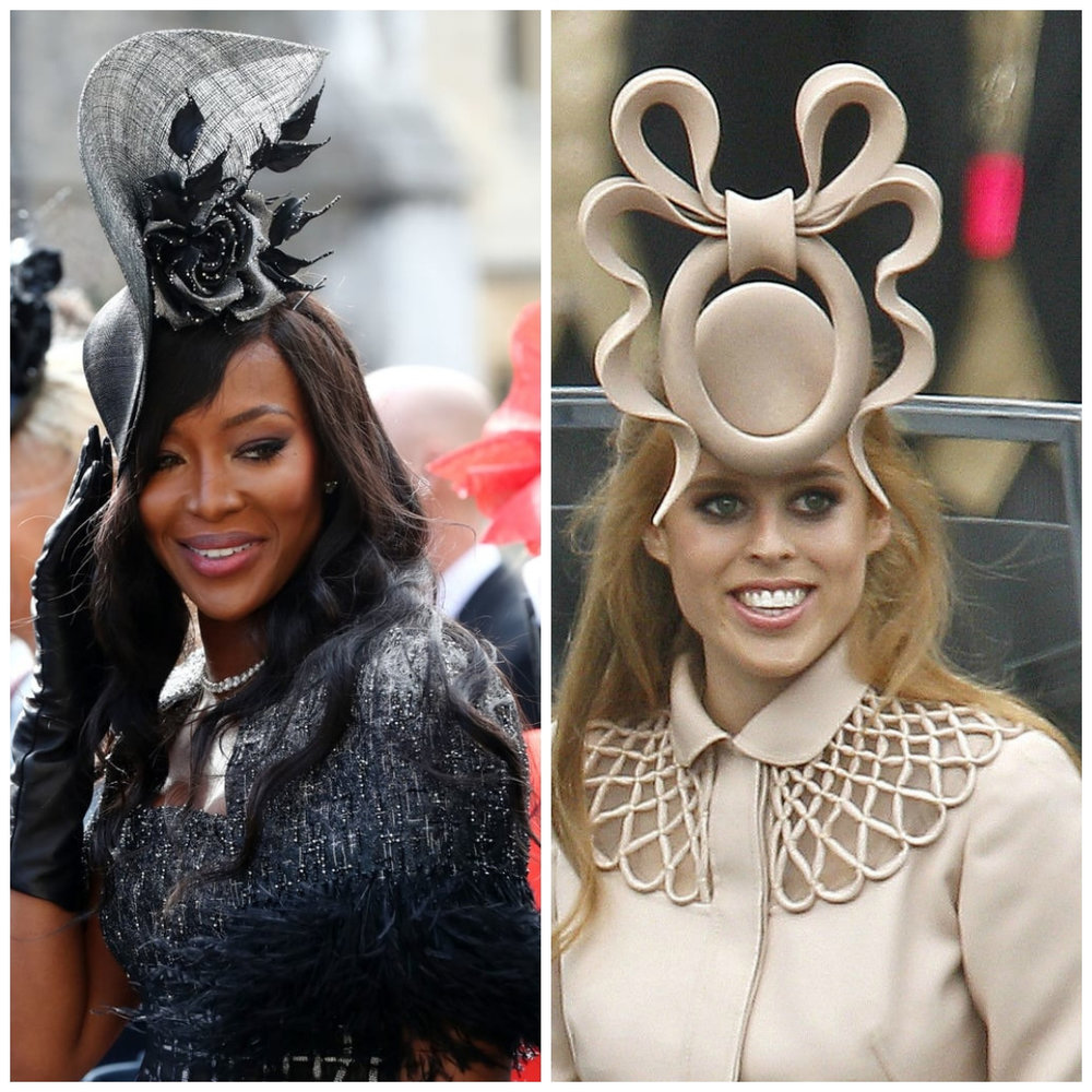 Naomi Campbell, paying hommage to the fancy hat that made princess Beatrice a household name…
