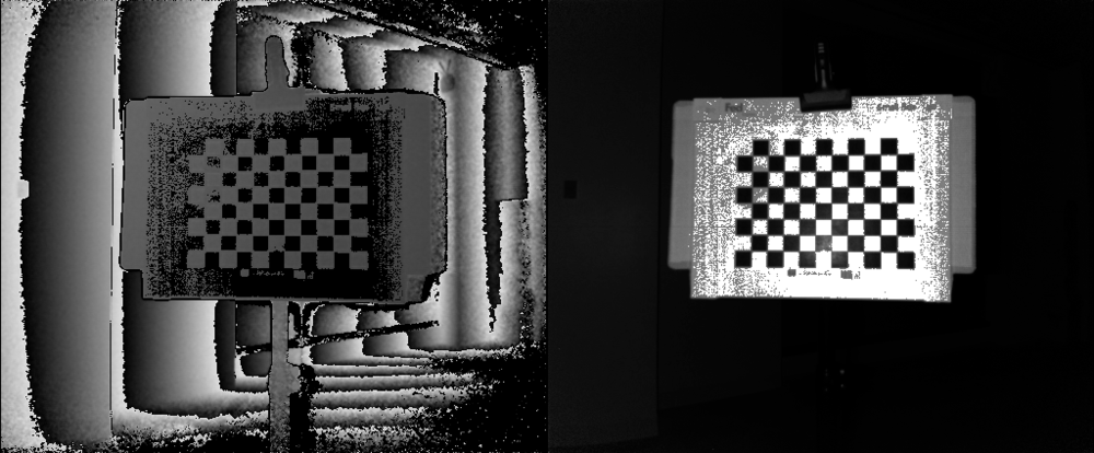 This is an example of a checkerboard that's too close to the Kinect such that the Kinect is over-illuminating the surface. In the depth image (left) the black areas represent regions without valid depth samples. Meanwhile, in the IR image (right) we don't see the red grid pattern that's needed for calibration. In this case either rotate the checkerboard away from the Kinect to reduce glare or move it back until the entire surface is all white/grey at left and the red checkerboard dots appear at right.