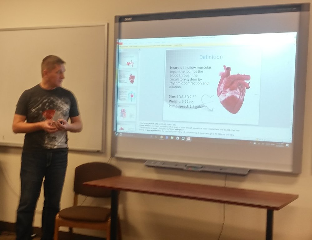 Student talking about the heart