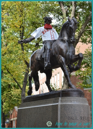 The Paul Revere statue dressed for the 2013 World Series