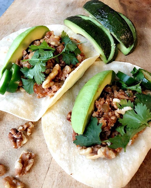 "Thanks @foodnutrimag & @cawalnuts for the excellent recipe. This is roasted walnut & cauliflower ""meat"" made into these glorious tacos. #tacomonday #dietitian #contest #fntestkitchen #vegan #plantpower #glutenfree"