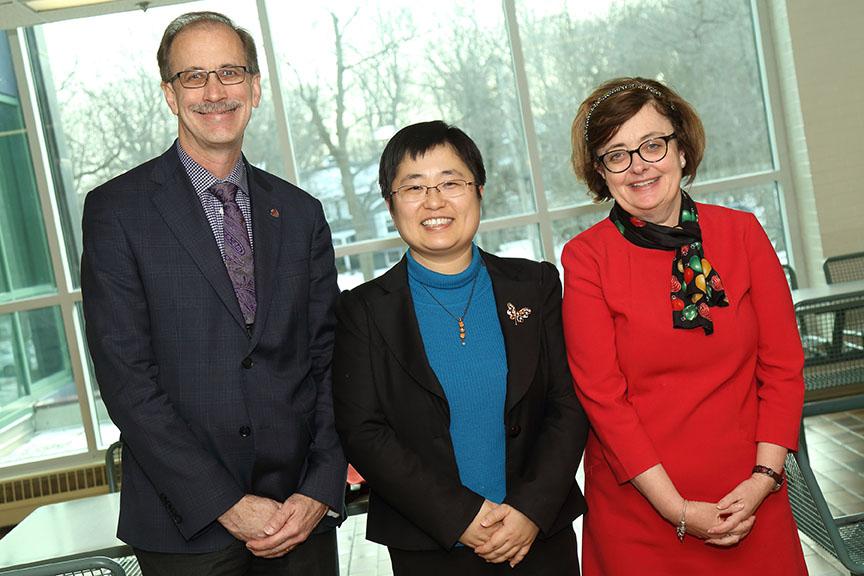 (L - R) Vice-President, Academic & Research, Dr. Malcolm Butler; Dr. Yue (Cecilia) Qiu; Dean of Arts Dr. Margaret MacDonald