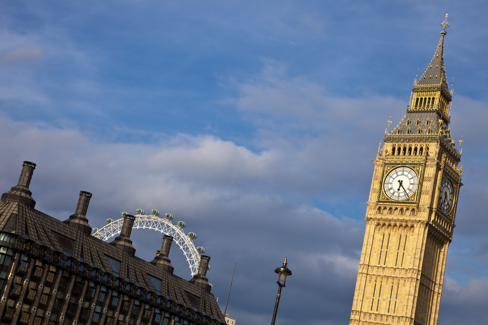 Old and new: the London Eye and Big Ben's Tower