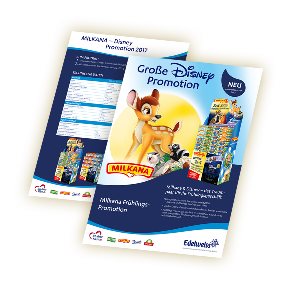 MILKANA DISNEY PROMOTION, SALES-UNTERLAGEN