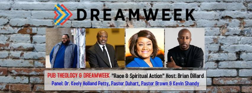 "Pub Theology & DREAMWEEK team up to discuss: ""Race and Spiritual Action"" before MLK Day and the march. Guest Panel:  Dr. Keely Holland Petty (Spirit Mind Strategies) Pastor Kevin Duhart (The Rock Fellowship) Pastor Steve Brown (True Vision Church) Kevin Shandy (Boys & Girls Club of SA) Hosted By: Pastor Brian Dillard, Pastor Gavin Rogers & Bekah McNneel  Pub Theology San Antonio meets weekly with clergy and community leaders to dialogue about faith, our community and creating the common good. All Perspectives Are Welcome! ""Different Brews & Different Views""  Links:  www.keelypetty.com   www.truevisionchurch.org/   https://www.therocksa.org/   www.bgca.org/‎  (Boys and Girls Club)  www.bekahmcneel.com   www.gavinrogers.com   https://www.sanantonio.gov/Innovation/Home"