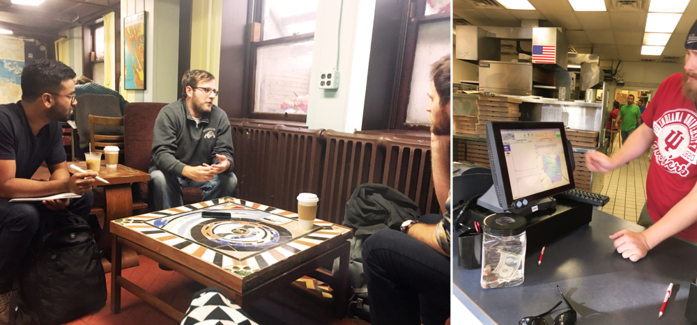 On the left: Interviewing a delivery personnel from Mr. Delivery. On the right: Matt, the General Manager at Pizza X explaining how pizza deliveries are tracked