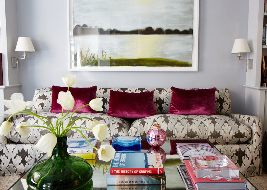 Jewel tone accents and bold print in an UES home