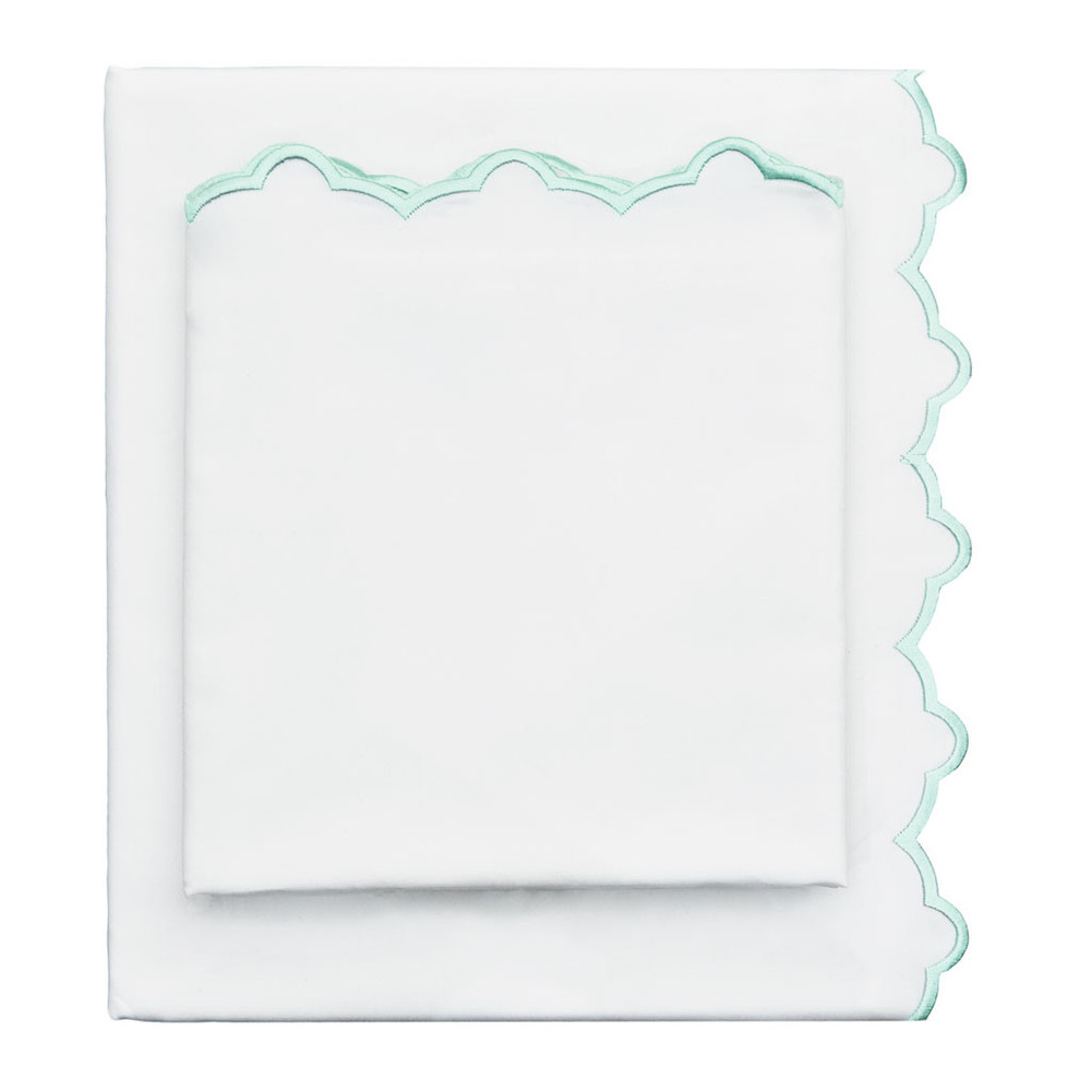 Mint Green Scalloped Sheets Crane & Canopy