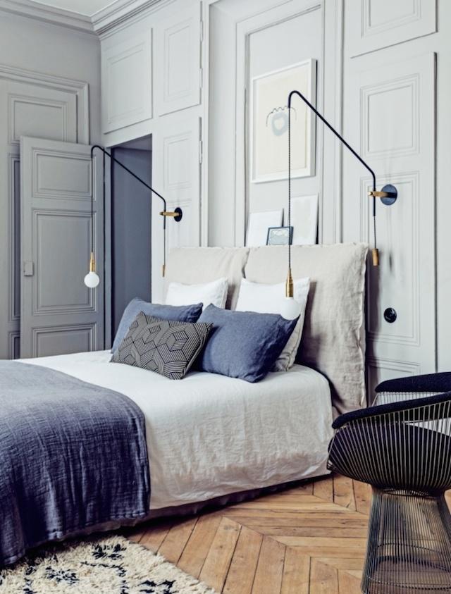 Master bedroom in Martin and Garotin's Lyon home