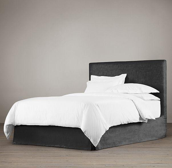 Restoration Hardware Parsons Bed Black Linen