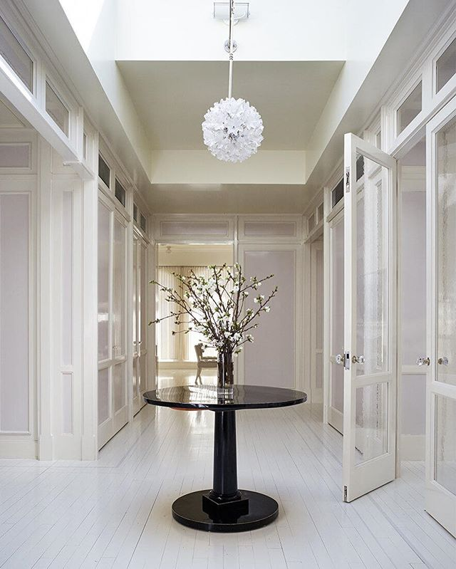 Loving the light, airy and pale lavender clad foyer in GP's TriBeCa home || #interiordesign by Roman & Williams and photo by Björn Wallander via @goop