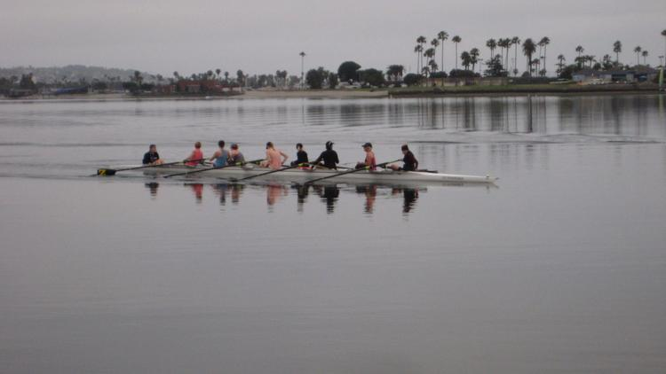 ZLAC rowers take an early morning excursion Wednesday, June 26 along Mission Bay. (Steven Mihailovich)