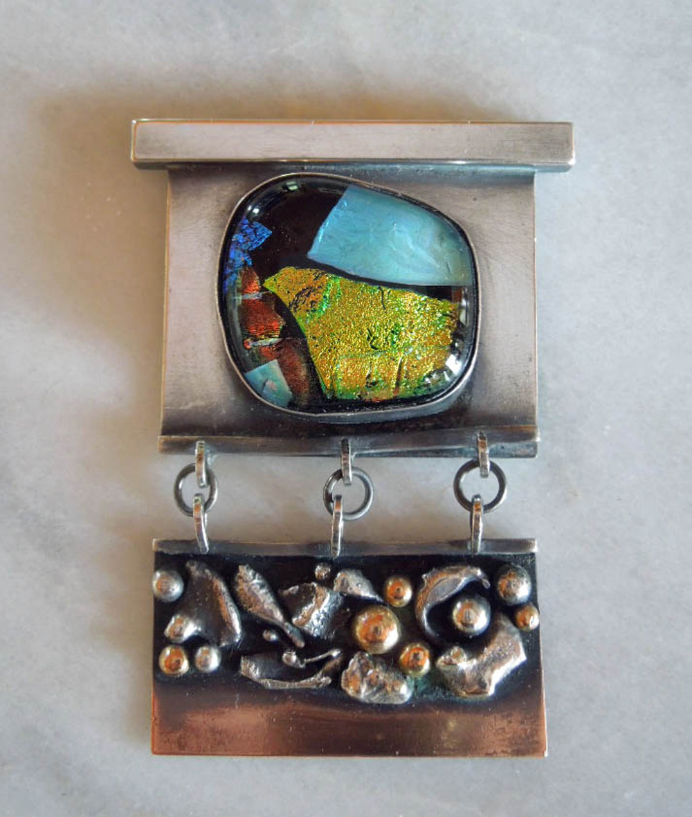 """Strata Series"", SS, 14K, copper, brass, dichroic glass, 3x2 inches"