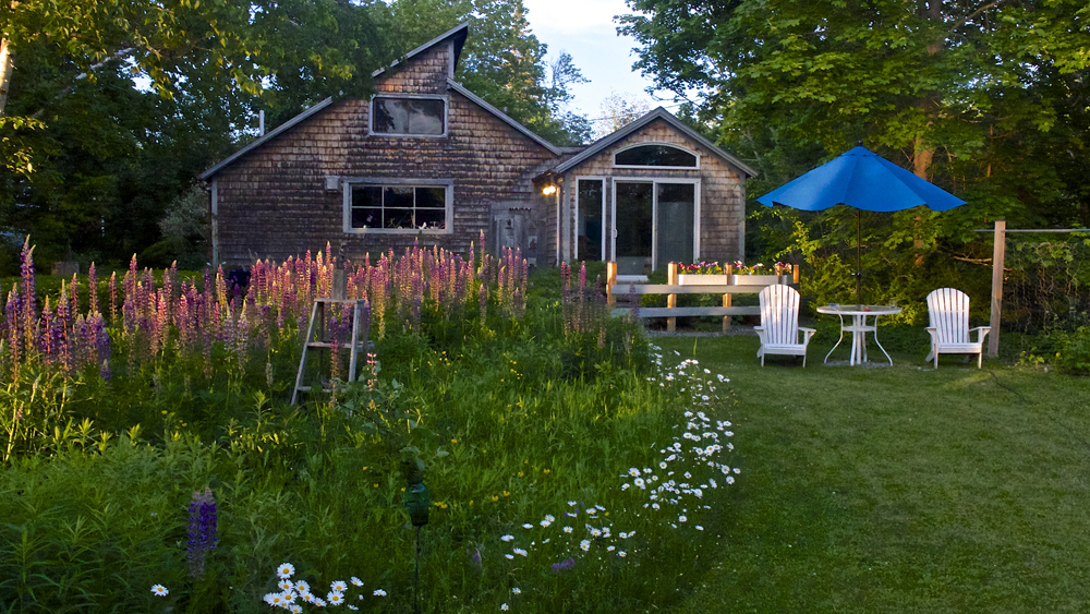 My studio at twilight looking up from my cottage on Penobscot Bay...just a few steps up the meadow path takes me to work every morning with a lovely view of the water and my meadow of lupine, daisies and whatever finds it's home there throughout the summer and fall.