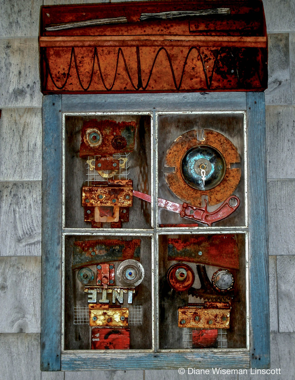"""Time Warps"", 30x18x2 inches, assemblage"