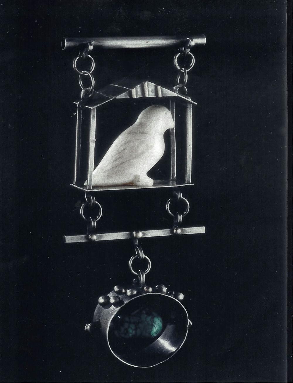 """White Dove"", SS, ivory bird, turquoise, 14K"