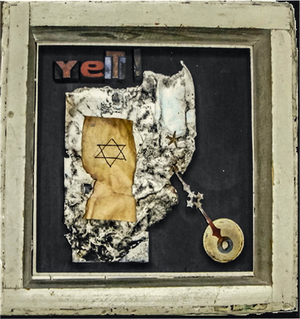 """Yet"", 9x9x2.5 in, paper, printers blocks, brass"