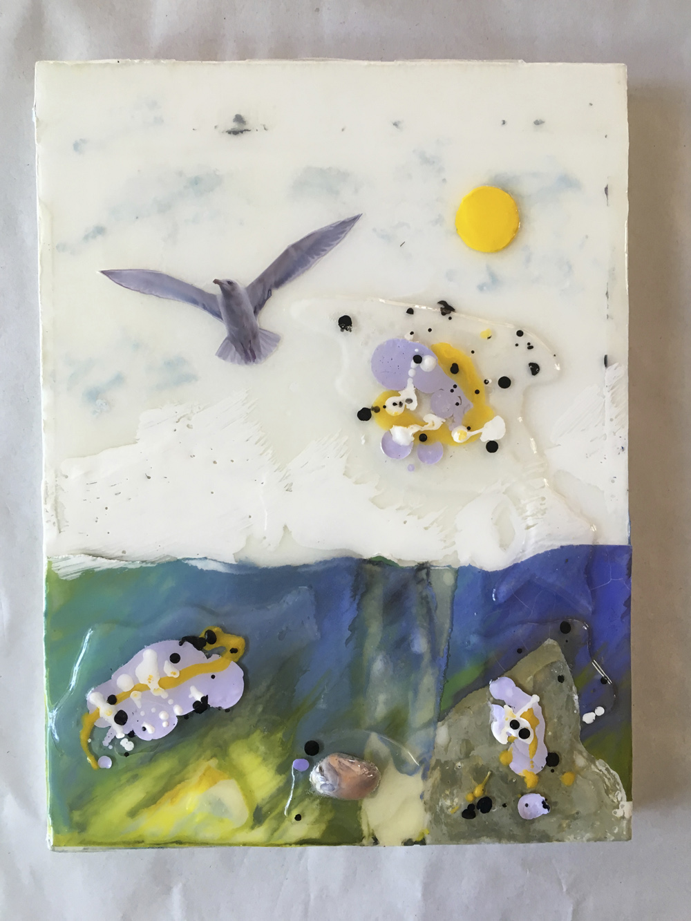 """Gull and Fish"", 9x12x1 in, encaustic, collage, resin"