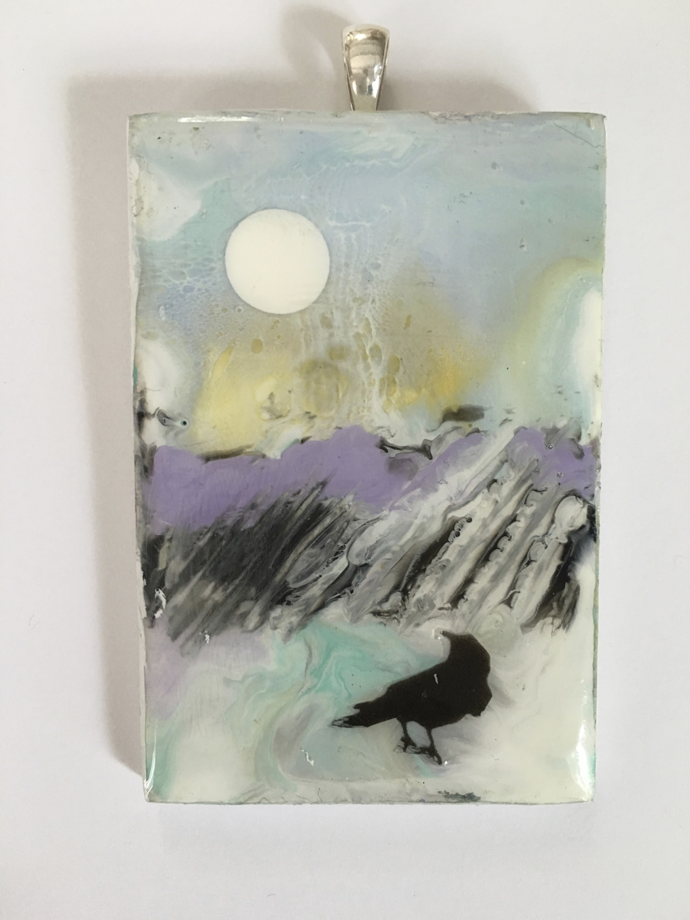 """The Blackbird Pendants 2016"", 2x3x0.25 in, encaustic, resin on birch, SS"