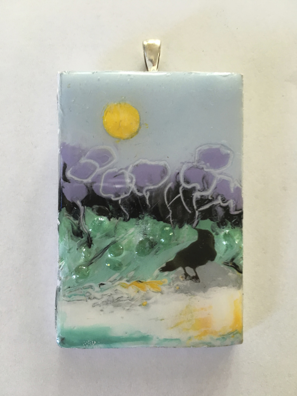 """The Blackbird Pendants, With sun and emeralds"""