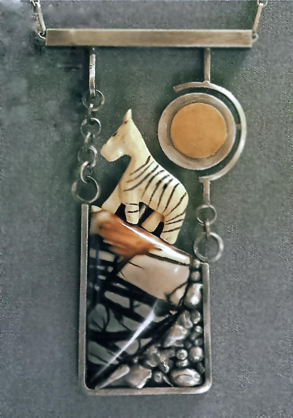 """Zebra"", SS, Jasper, ivory, 14k -pendant"
