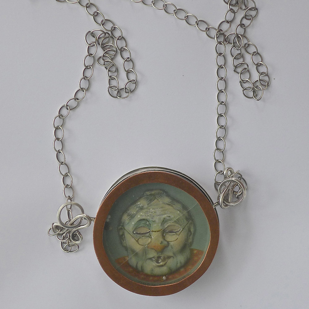 """Grammy Game"", 2.5 diameter, SS chain, SS, copper, antique children's game"