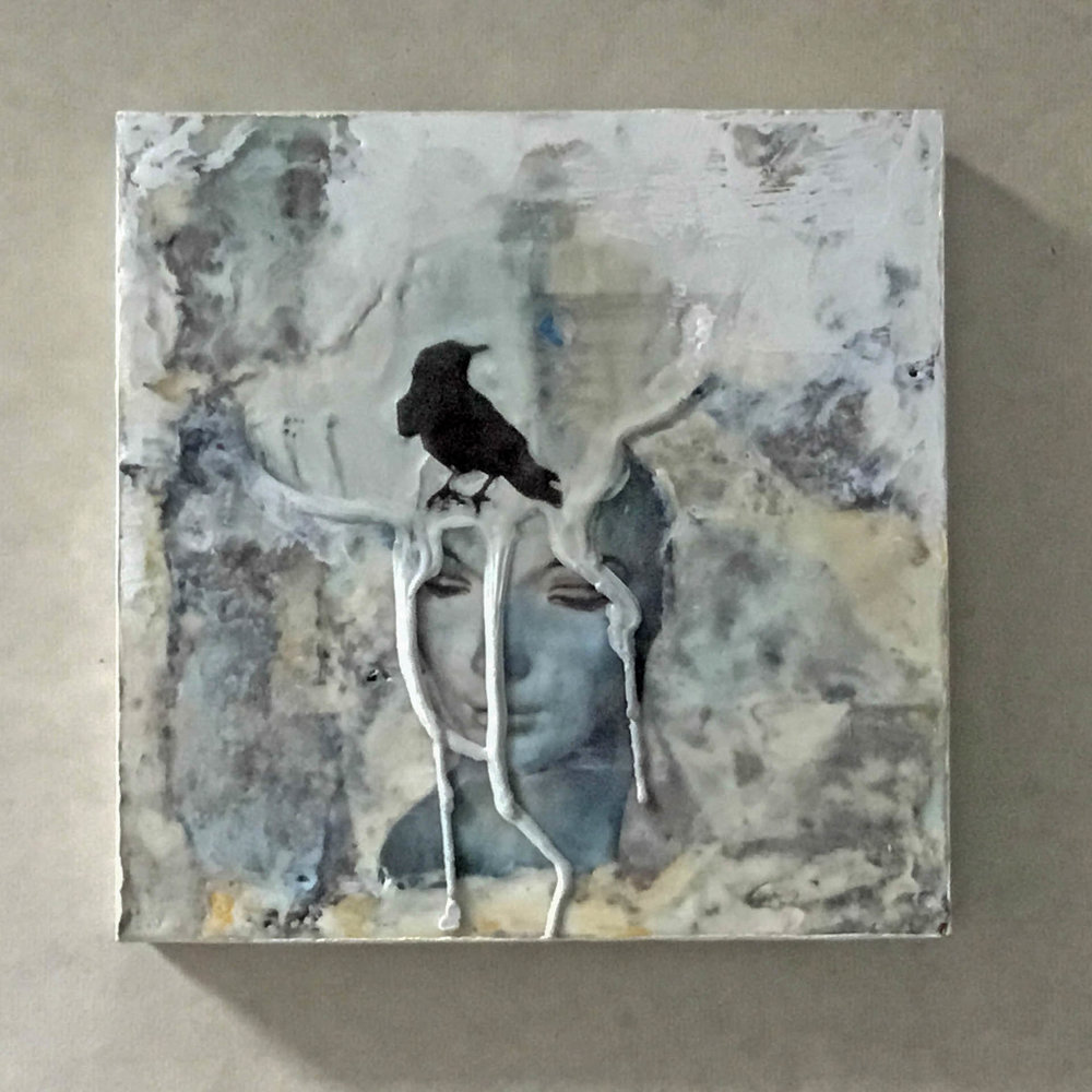 """Blackbird Dreams #11"", 8x8x2 "", encaustic, transfer"