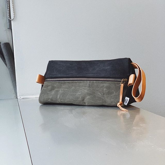 Prototyping some new Dopp kits. 20 oz waxed canvas and natural leather.