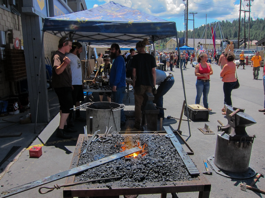 Mountain Forge brought metal-working tools and produced a sculpture over the course of the show. Photo: Grant Kaye