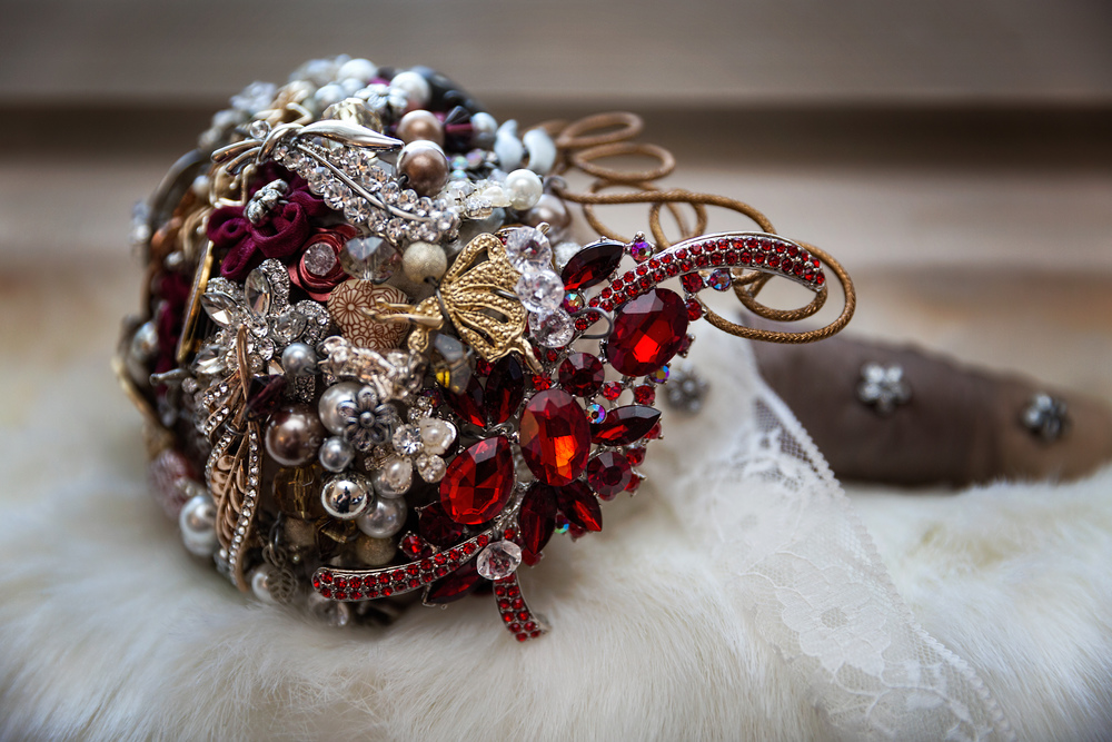 Leanne's brooch bouquet. Image courtesy of Paul Athey  www.thelemonhouse.co.uk