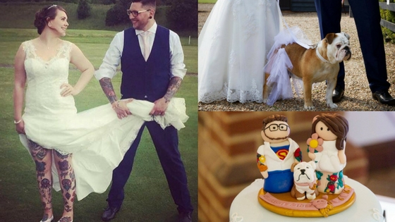 Charlotte and Toby showing off their tattoos on their wedding day, Luna the Bulldog and the cake toppers on the wedding cake. Photo credit: Gemma Scopes at Heels and Horseshoes ( www.heelsandhorseshoes.com )