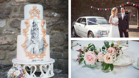 Left : Castle Cake by Celia at Cemlyn Cakes ( www.cemlyncakes.co.uk ) Image courtesy of Scott Wilson at Life In Focus Photography ( www.lifeinfocusphotography.co.uk )   Top right : Modern Wedding Cars from Cadbury Cars ( www.cadburycars.co.uk ); Wedding dress from a selection at Katherine Jo ( www.katherinejo.co.uk ); Menswear available at Nailsea Men's Hire ( www.menshire.co.uk ); Bunting from Beez Neez Bunting Hire ( beezneezbuntinghire.co.uk ); Brooch bouquet and buttonhole from Elsa Rose Boutique Image courtesy of Pat Cooper Photography ( patcooper.net )   Bottom right : Pretty florals and vintage crockery are a match made in heaven Image courtesy of Scott Wilson at Life In Focus Photography ( www.lifeinfocus.co.uk )