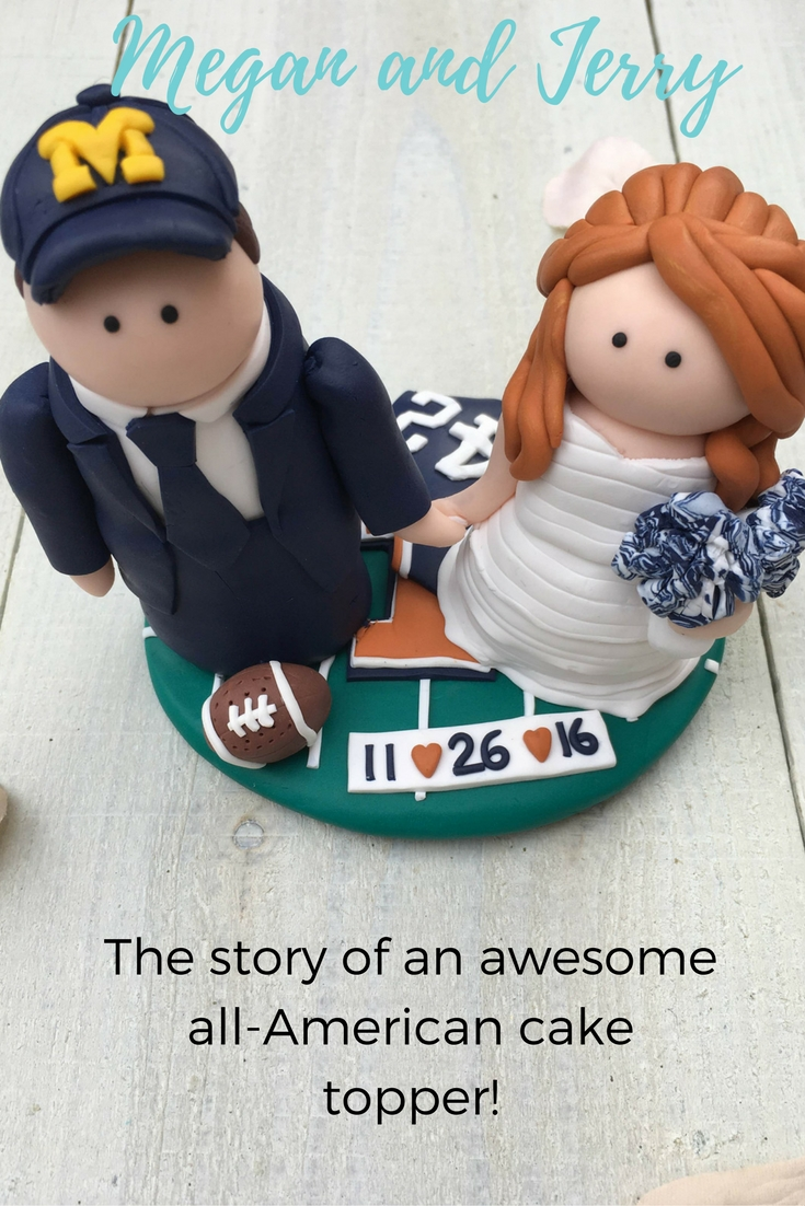 The story behind Megan and Jerry's cake topper, featuring American football details, pom-poms and lots of sentimental details
