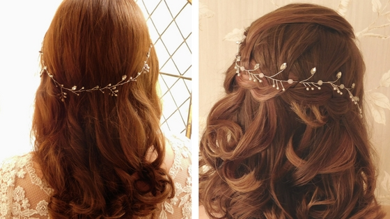 Vines can be worn around the back of your head too. Left: Sophie vine; Right: Elsa vine, both part of the new Inspired collection