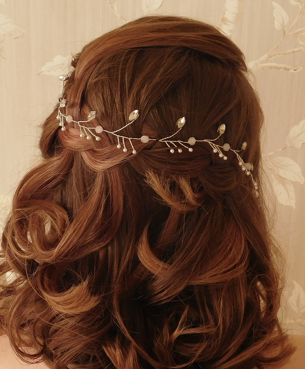 Above: The Elsa vine  Left: The Jane tiara, inspired by my mum's bridal cap from her first wedding