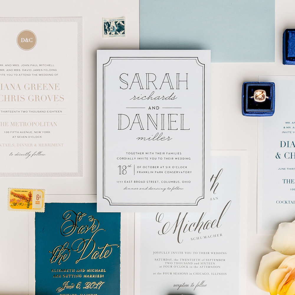 Beautifully curated stationery sets give your invitations the wow factor