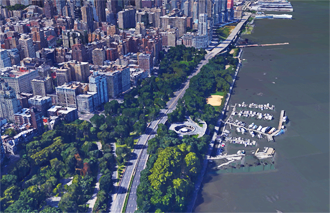 Combined sewer overflow  at the picturesque and popular 79th Street Boat Basin , filming location for popular films such as  You've Got Mail , featuring Tom Hanks and Meg Ryan.  Via Google Earth
