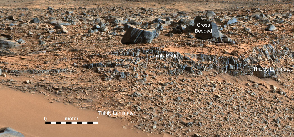 """An image taken at the """"Hidden Valley"""" site, en-route to Mount Sharp, by NASA's Curiosity rover. A variety of mudstone strata in the area indicate a lakebed deposit, with river- and stream-related deposits nearby. Decoding the history of how these sedimentary rocks were formed, and during what period of time, was a key component in the confirming of the role of water and sedimentation in the formation of the floor of Gale Crater and Mount Sharp.  Image credit NASA/JPL-Caltech/MSSS"""