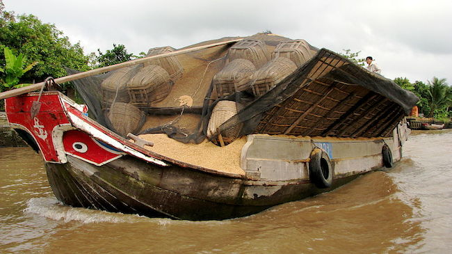 A beautifully painted and cared for grain barge chugging down the main canal between An Binh and Hoa Phuoc islands, ca. 2008.  McKay Savage [CC BY 2.0 (http://creativecommons.org/licenses/by/2.0)], via Wikimedia Commons